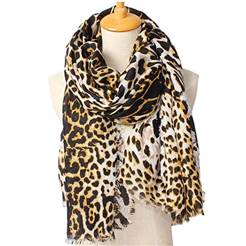 Miustyle Women Ladies Fashion Leopard Scarf Animal Print Infinity Oversized Shawl Wraps Scarves 75 By 40 Inches
