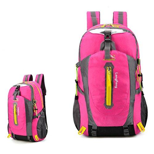 Goodsatar Mochila de senderismo Paquete de fin de semana Cubierta Para Camping Viajes Senderismo 32cmX20cmX53cm (Negro) Rosa caliente