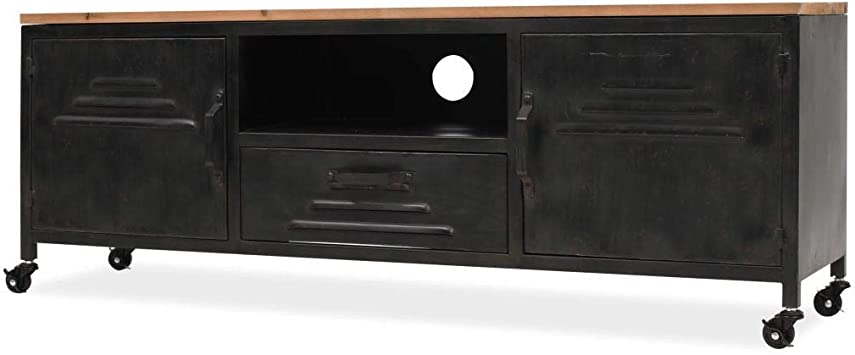 Furniture of America Cyprinus Industrial 60-inch TV Stand in Antique Black