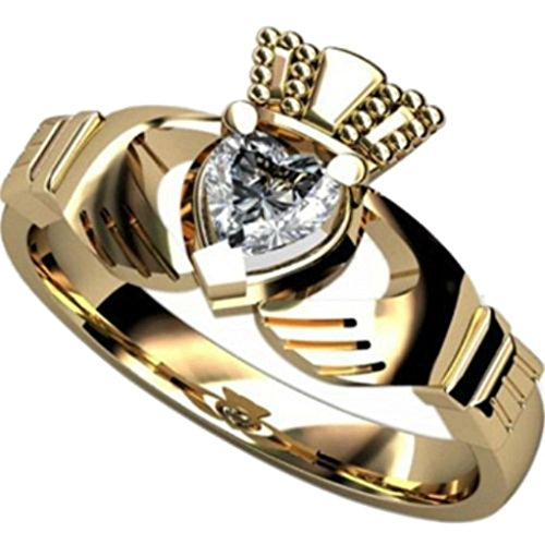 Jude Jewelers Stainless Steel Simulated Diamond Claddagh Ring (Gold, 9) (Ring Claddagh Gold Knot)