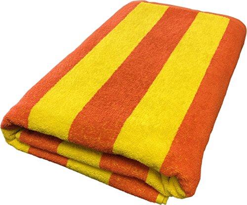 Large Cabana Stripe Beach Towel - Fast Drying Cotton Lightweight Summer Towel - Made with 100% Turkish Cotton, 35 x 70 (Yellow - Orange)