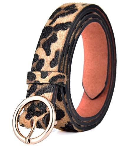 Talleffort Women belt Leopard Print PU leather Belt Women's Artificial Horse hair Waist Belts for Women-S