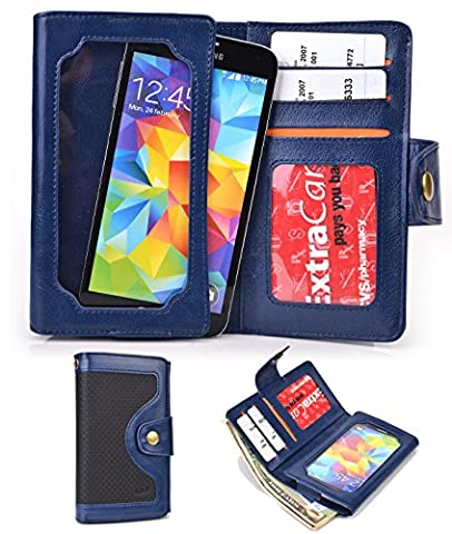 Navy Universal Cell Phone Smartphone Wallet Case fits Maxwest Astro X5|NuVur (Maxwest Phone Case)