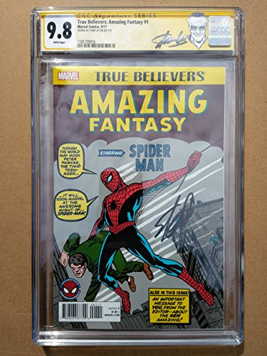 "TRUE BELIEVERS AMAZING FANTASY #1 High Grade! CGC 9.8 ""Spider-Man"" – Modern Age Collectible Comic Book – Signed by Stan Lee!"