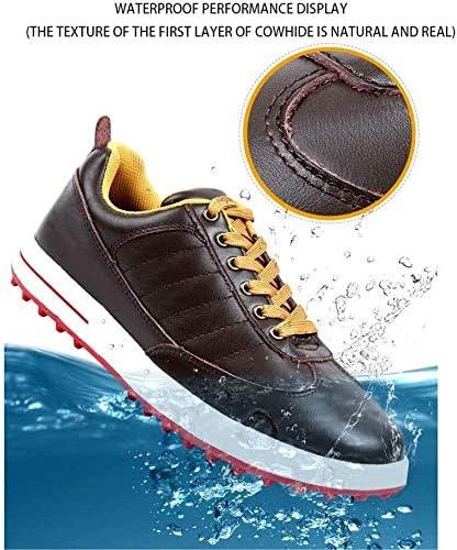 メンズゴルフシューズ、レザー防水スポーツシューズアウトドアカジュアルシューズ (Color : White, Size : 42EU)