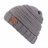 HULKAY Boy Girls Caps Premium Soft Stretch Winter Trendy Warm Wool Knitted Hat(Gray)