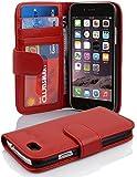 Apple iPhone 6 / 6S Hülle in ROT von Cadorabo - Handy-Hülle mit 3 Kartenfächer und Standfunktion Case Cover Schutz-hülle Etui Tasche Book Klapp Style in INFERNO-ROT