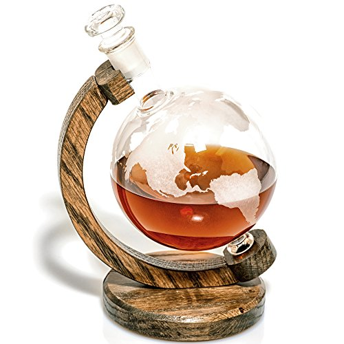 Etched Globe Liquor Decanter - Scotch Whiskey Decanter - 1000ml Glass Decanter for Alcohol - Vodka, Bourbon, Rum, Wine, Tequila or Even Mouthwash - Pythagoras Decanter by Prestige Decanters (Globe)