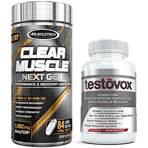 Clear Muscle Next Gen (84 Capsules) & Testovox (60 Capsules) - Most Advanced Muscle & Strength Building Combo. High Performance Bodybuilding Supplement Stack