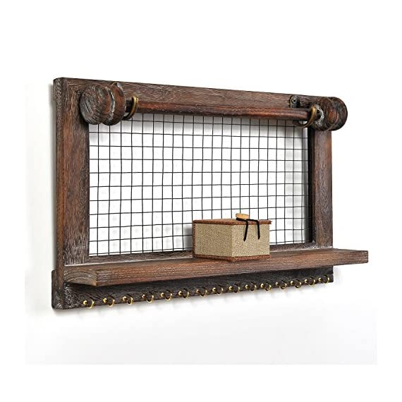 VIEFIN Rustic Wall Mounted Mesh Jewelry Organizer, Wood Shabby Chic Earring Holder with Shelf, Hanging Hook for Necklace, Removable Rod for Bracelet(Rustic,Standard) - FREE SMALL CASE GIFT: A Small Cloth Jewelry Case will be given FREE for the storage of ring or studs if you buy Viefin wall-mounted wooden jewelry organizer! PERFECT SIZE: 17*10*3.3 inches and 15 necklace storage hooks, perfect size designed to fit on your bedroom, closet, or bathroom wall. STRONGER STRUCTURE: Viefin use stronger wood structure, bracelet rod and wood shelf of high quality, extend the service life of the organizer and durable rustic wood design showcases your jewelry in style. - wall-shelves, living-room-furniture, living-room - 51rVEee8r1L. SS570  -
