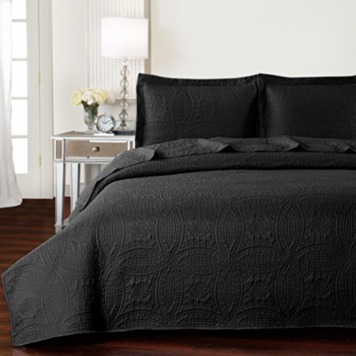 Mellanni Bedspread Coverlet Set Black - BEST QUALITY Comforter Oversized 3-Piece Quilt Set (Full / Queen, Black)