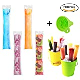 Image of Ice Popsicle Molds Bags 200 Pack With Funnel BPA Free and FDA Approved DIY Ice Pop Mold Pouch for Gogurt,Ice Candy,Otter Pops or Freeze Pops Homemade Popsicle Bags Molds With Zip Seals By H&HODOR