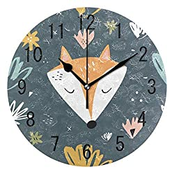 hiusan Cute Forest Fox Animal Wood Wall Clocks Silent Non Ticking Decorative for Living Room Bedrooms Office 12 Inch for Gifts