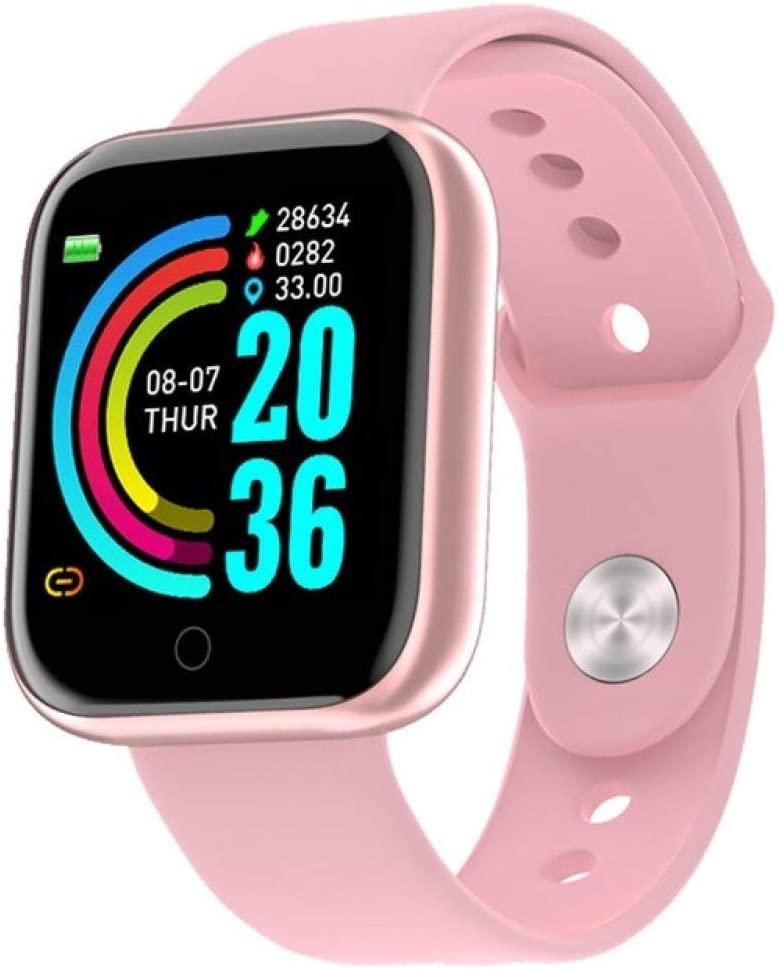AAA&LIU 2020 Nuevo Reloj Inteligente Y68 Impermeable Bluetooth Sport SmartWatch Fitness Tracker Pulsera Hombres Mujeres podómetro Pulsera de Banda Inteligente, Rosa