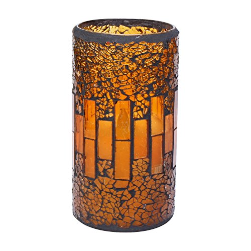 GiveU Pumpkin Mosaic Flameless Pillar Led Candle with Timer, 3 x 6″ for Home Party Decorat ...
