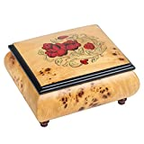 Red Wild Roses Pioppo Italian Inlaid Wood Jewelry Music Box Plays La Vie en Rose