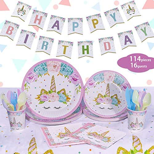 Unicorn Party Supplies Set - Serves 16 - NALAKUVARA Unicorn Party Decorations for Birthday Girls, Baby Showers, and First Birthday Party Favors with Unicorn Tablecloth, Unicorn Plates, Unicorn Cups, Unicorn Napkins, Utensils & Happy Birthday Banner