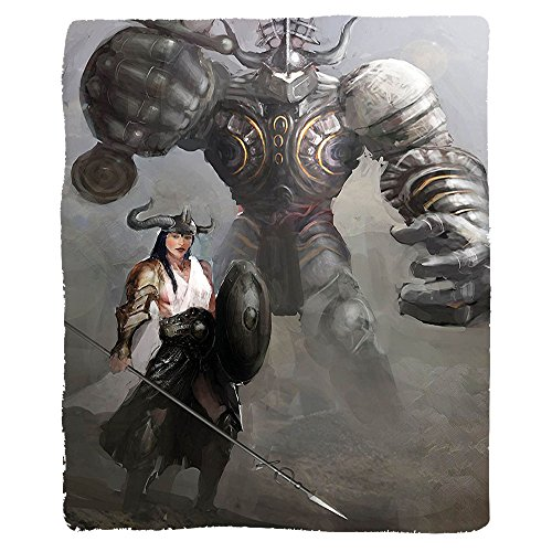 Kisscase Custom Blanket Fantasy Fictional Woman Knight with Giant Warrior Medieval Gothic Myth Illustration Bedroom Living Room Dorm Charcoal Grey