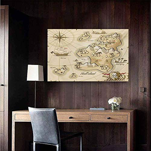 (duommhome Pirate Light Luxury American Oil Painting Hand Drawn Map of Treasure Island Sea Adventure Ocean Navigation Compass Home and Everything 35