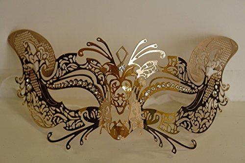 Luxury Mask Women's Laser Cut Metal Cat Mask Venetian Halloween Prom Mardi Gras (GOLD)