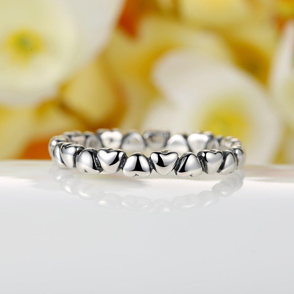 BAMOER 925 Sterling Silver Endless Love Heart Stacking Ring for Women Teen Girls Birthday Anniversary Gift Size 6-9 (7) by BAMOER (Image #3)