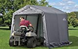 ShelterLogic 8' x 8' Shed-in-a-Box All Season Steel Metal Peak Roof Outdoor Storage Shed with Waterproof Cover and Heavy Duty Reusable Auger Anchors