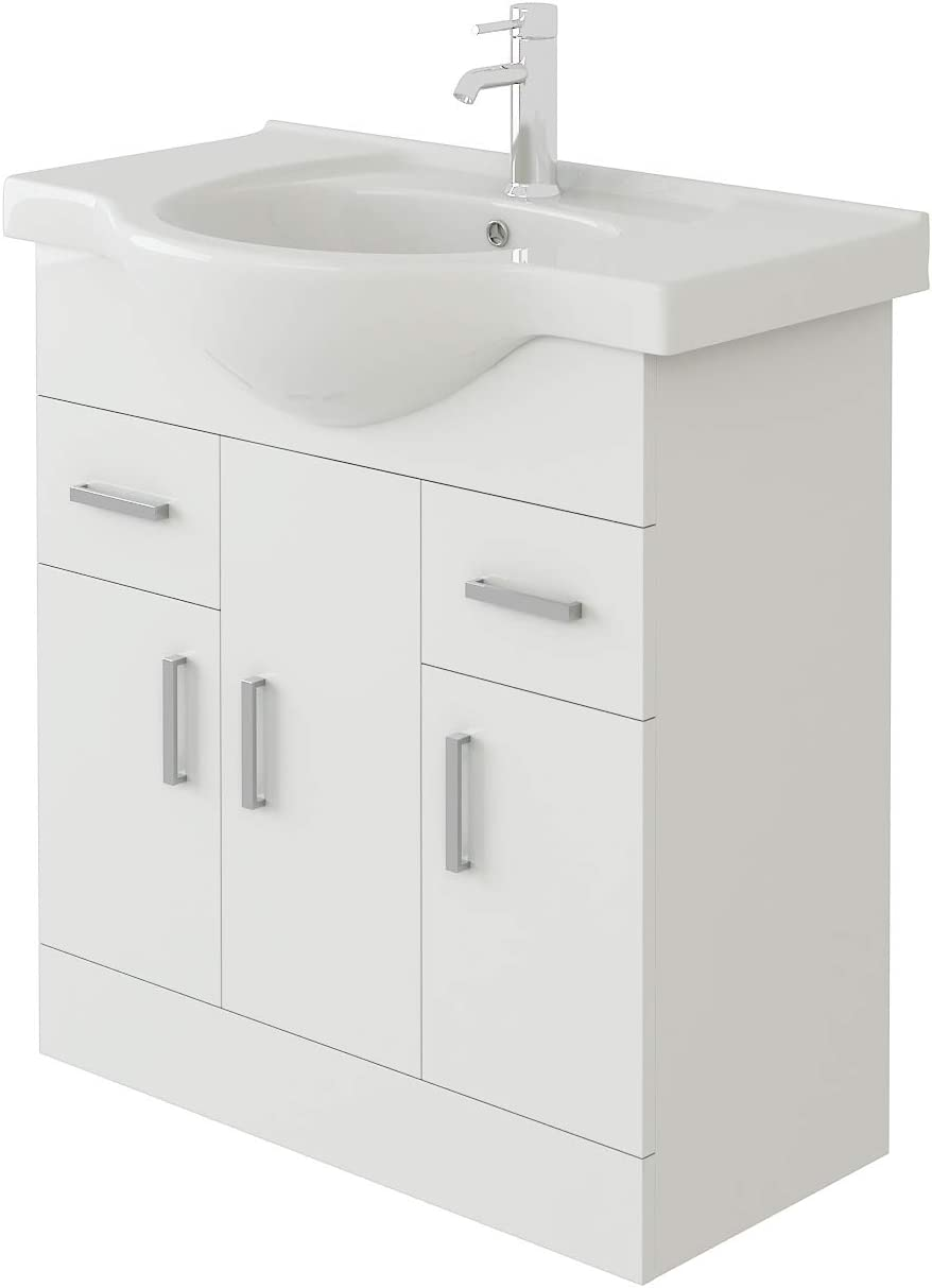 VeeBath Linx 450mm High White Gloss Vanity Cabinet Unit Inset Sink with Elmbridge Chrome Designer Basin Mixer /& Waste