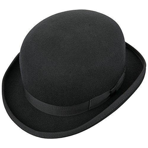 Sedancasesa 100% Wool Felt Derby Bowler Hat Roll Brim Classic Black Grey (Mens Derby Hat)