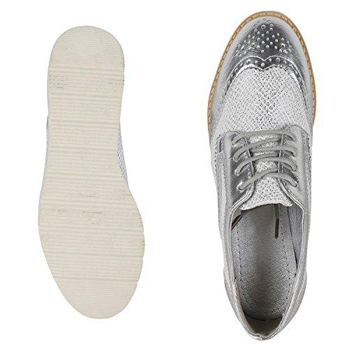 Japado - Zapatos de vestir brogues Mujer plata metalica