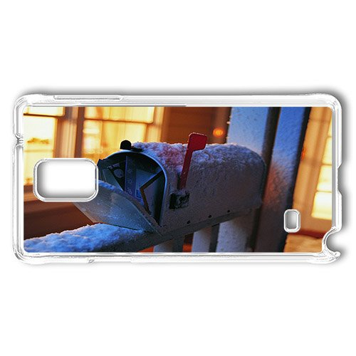 Samsung Galaxy Note 4 Case Cover, Snow Covered Mailbox Mailbox With Chritmas Cards PC Transparent Case for Samsung Galaxy Note 4/N9100