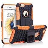 iPhone 6s Case, NOVT iPhone 6 / 6S Case Shock Absorbing Hybrid Best Impact Defender Rugged Slim Dual Layer Phone Case with Kickstand for Apple iPhone 6 / 6S 4.7 Inch (Black+Orange)