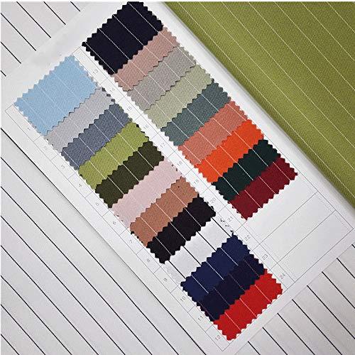 Pukido Pinstripe Twill Fabric Elastic Polyester Women Suit Uniform Dress Shirt Skirt Fabric DIY Handmade Width 1.5mlength 1m B90 - (Color: 4 Green)