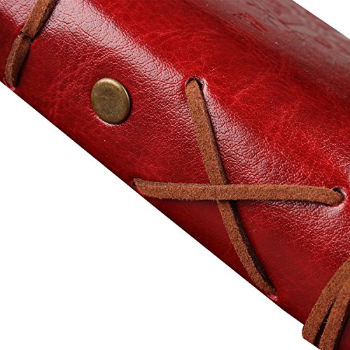 CYOS PU Leather Vintage Journal Diary Best Retro Soft Spiral Bound Leather Cover Notebook Travel Diary Loose Leaf Journal Blank 6 Ring Binder Planner (Red) by CYOS (Image #5)