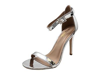 824dbec74ad1 Glaze ShopAegis  Silver  Metallic PU Women s Classic Comfortable Design  High Heel Sandals Ankle Strap