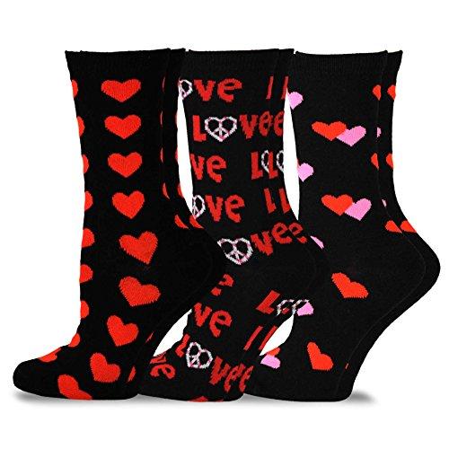 Blk Heart (TeeHee Valentine's Day Love Women's Crew Socks 3-Pack (Blk Heart))
