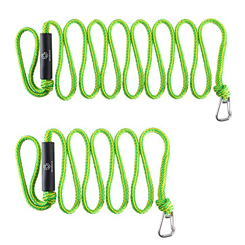 (Obcursco Premium PWC Dock Lines, Heavy Duty Braided Line, Marine Rope for Jet Ski,Watercraft, Small Boat, Kayaking, Marine Sets of Two Ropes, 1/2'' x 7ft & 14ft Lengths, with 316 Stainless Steel Clip )