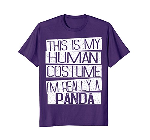 Mens This Is My Human Costume I'm Really A Panda T-Shirt 2XL Purple