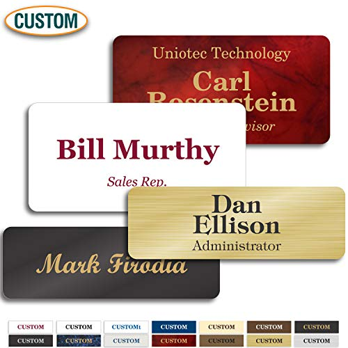 "Personalized Name Tags with Pin, Magnetic or Adhesive Backing, Choice of 15 Colors, 1.5"" x 3"" Classic Collection by My Sign Center, 20102A1"