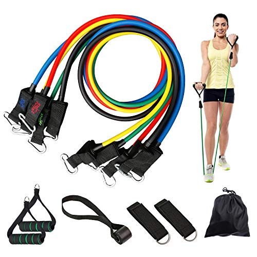 Resistance Bands Set with Handles, Chanvoo Stackable Exercise Bands with Waterproof Carrying Case, Door Anchor Attachment, Legs Ankle Straps, Home/Gym Workout and Physical Therapy Band (5 Colors)