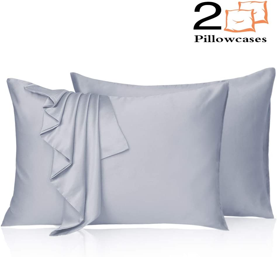 Leccod 2 Pack Silky Satin Pillowcase for Hair and Skin Cool Super Soft and Luxury Pillow Cases Covers with Envelope Closure (Baby Blue, Queen: 20x30)