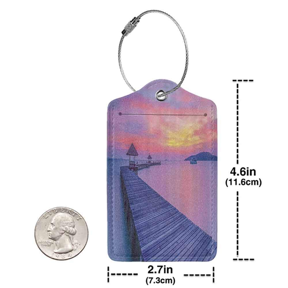 Flexible luggage tag Wooden Bridge Decor Collection Seascape Curve Jetty Romantic Resort Morning Panoramic View Fashion match Yellow Lilac Peach W2.7 x L4.6