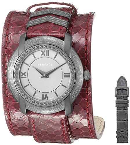Versace Women's 'DV-25' Swiss Quartz Stainless Steel and Snake Skin Casual Watch, Color:Red (Model: VAM070016)