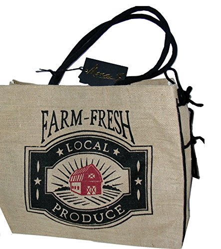 Mona B Farm Fresh Produce Burlap Tote Bag B-222