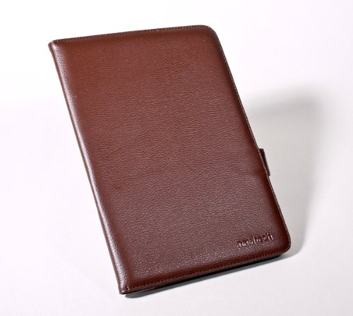 Navitech Genuine Brown Napa Leather Flip Open 7 Inch Book Style Carry Case / Cover for the Cambridge Sciences G7 8GB 7