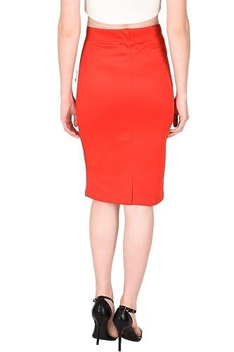 989c8237e SASSAFRAS Women's Scuba Red Pencil Skirt: Amazon.in: Clothing & Accessories
