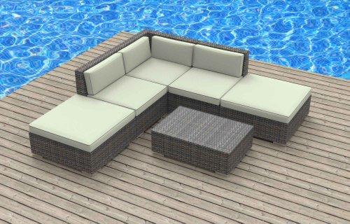 UrbanFurnishing - BALI 6pc Modern Outdoor Wicker Patio Furniture Modular Sofa Sectional Set, Fully Assembled - Biege (Bali Furniture)