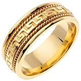 14K Gold Designer Greek Key Women's Comfort Fit Wedding Band (8mm) Size-6.5c1