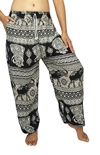 [Lek Boutique Unisex Plus Size Loose Trousers Genie Aladdin Hippy Yoga Bohemian Pants Adjustable Waist 24-44 Inchs with sting 100% Rayon US size 0-18 (AD] (North Indian Dance Costumes)
