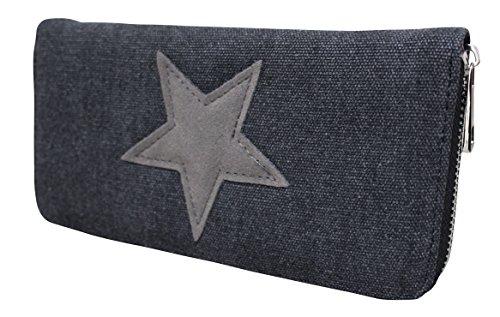 mujer estrella Schwarz Bolso para amp;Geldbörse canvas con Grau pegatina de w4BqTYA