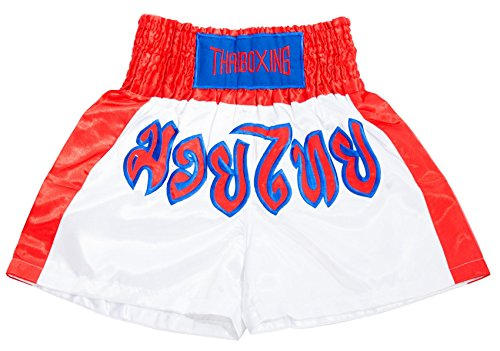 Lofbaz Muay Thai Boxing Shorts – White & Red 2XL